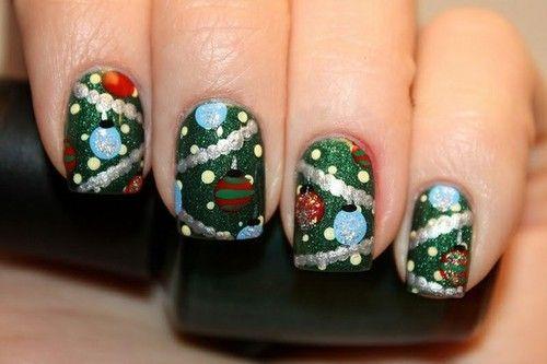 Diseños de uñas para Navidad  Adornos