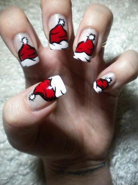 Diseños de uñas para Navidad  Gorritos-525x700