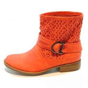botin-mujer-xti-crochet-hebilla-naranja