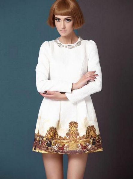 Embossed_A-line_Dress_With_Oil_Printing_Hem___Choies