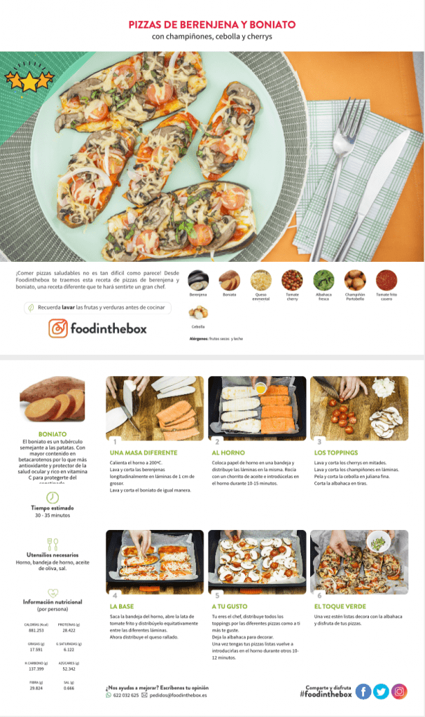 Pizzas de berenjena y boniato